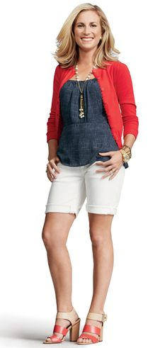 Red, Denim, White, Beige / Nude Outfit
