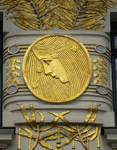 Koloman Moser's gold medallions, Wagner apartments in Vienna