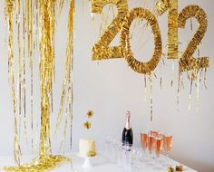 Diy Gold fringe wrapped numbers