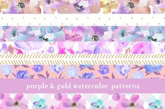 Floral Watercolor Patterns by Angie Makes on Creative Market