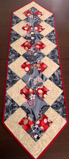 Patchwork Quilted red black and cream table runner by StephsQuilts                                                                                                                                                                                 More