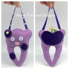Tooth fairy pillow, purple tooth fairy doll, handmade in purple felt tooth fairy plushie for kids