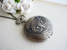 Vintage Jewellery - Vintage Wise Owl Locket Watch Necklace  £16.00
