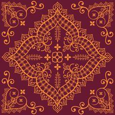 Floral design in orange and burgundy
