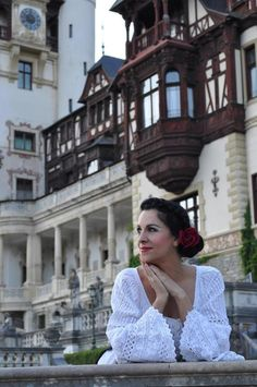 Angela Gheorgiu, the world renowned #Romanian opera singer wears the #RomanianBlouse at Peles Castle, in #Romania