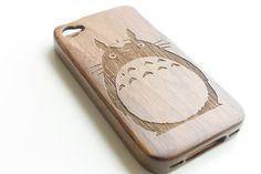 Walnut Wood iPhone 4 Case, Wooden iPhone 4 Case, Bamboo Engraved iPhone 4 Case, Totoro iPhone 4 Case