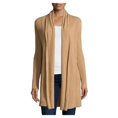 Neiman Marcus Cashmere Open Front Long Cardigan, Camel ($245) ❤ liked on Polyvore featuring tops, cardigans, relaxed fit tops, open front tops, long sleeve tops, shawl collar cardigan and beige top
