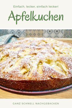Ruckzuck-Apfelkuchen - a delicious autumn cake - Torta Sandwich Ideas Easy Baking Recipes, Easy Cake Recipes, Fall Recipes, Dessert Recipes, Food Cakes, Fall Desserts, Health Desserts, Health Foods, German Baking