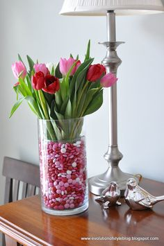 A quick, easy and inexpensive Valentine's Day Gift Idea for your sweetheart - candy and flowers with a twist.