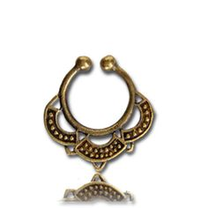 Fake faux ornate brass SEPTUM RING gold nose gauge piercing clip Palina Design 27