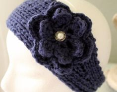 Handknit headband earwarmer navy crochet flower with vintage-look button