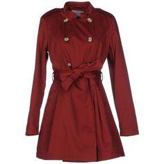 Vero Moda Full-length Jacket ($110) ❤ liked on Polyvore featuring outerwear, jackets, maroon, red jacket, vero moda jacket, vero moda, double breasted jacket and maroon jacket