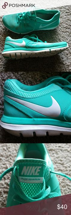 Teal Nike Flex 2014Run Good condition, barely warn nike flex running shoes. Stains on shoes pictured. Nike Shoes Athletic Shoes
