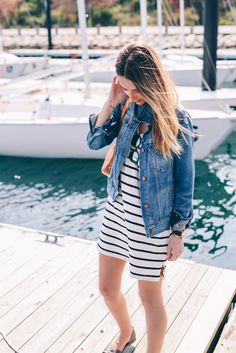 Summer style in a striped cotton shift dress and jean jacket on Prosecco & Plaid