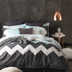 Logan and Mason MARLEY MINT Chevron QUEEN Size Bed Doona Duvet Quilt Cover Set