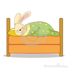 Cute Smiling Brown Bunny sleep in an orange bed.