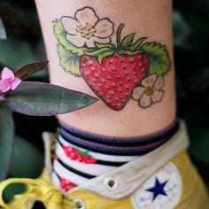 Strawberry tattoo #foodtattoo