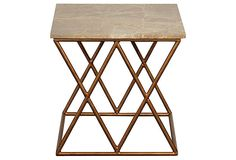 Lola Side Table, Gold/Cream on OneKingsLane.com