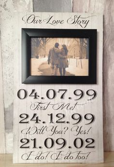 This is a good one year anniversary gift https://www.etsy.com/listing/222367201/our-love-story-custom-picture-frame