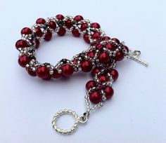 """New addition to my Etsy store!    Beadwoven Red Pearl Bracelet """"Showy Cheryl"""""""