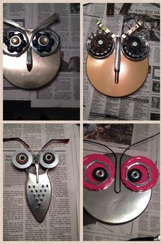 Owl craft from found and repurposed items