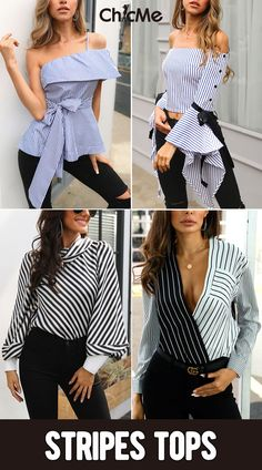 OFF, New arrival stripes tops, which one? The post OFF, New arrival stripes tops, which one? appeared first on Woman Casual - Woman Fashion Mode Outfits, Chic Outfits, Minimalist Outfit, Classy Summer Outfits, Tops Online Shopping, Diy Kleidung, Shirt Refashion, Stylish Tops, Fashion Sewing
