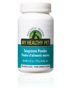 Holistic Blend Seagreens Powder The Ultimate Remedy for your Pet's Optimal Health Seagreens is an excellent organic source supplement that targets problem areas & provides stimulating natural healing effects within 20-30 days. Serving Tip: Mix Seagreens powder with a little warm water and stir into your pet's food.