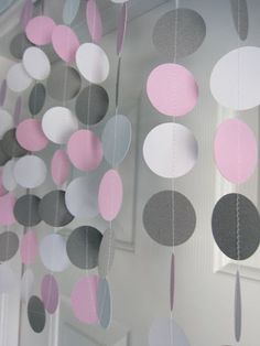 Pink and Gray Garland Paper Garland Birthday Garland Bridal Shower Garland Baby Shower Decorations Elephant Theme Shower on Etsy Idee Baby Shower, Baby Shower Cakes, Baby Shower Parties, Baby Shower Themes, Baby Girl Shower Decorations, Baby Shower Garland, Baby Shower Photo Booth, Party Box, Babyshower Party