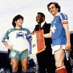 Maradona, Pelé and Platini. Football Icon, Football Is Life, Retro Football, Football Kits, Vintage Football, Sport Football, World Best Football Player, Soccer World, World Football