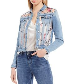 Shop for Buffalo David Bitton Deja Embroidered Denim Jacket at Dillard's. Visit Dillard's to find clothing, accessories, shoes, cosmetics & more. The Style of Your Life. Bleached Denim Jacket, Long Denim Jacket, Denim Jackets, Jean Jacket Design, Embroidered Denim Jacket, Mode Jeans, Look Girl, Denim Outfit, Upcycled Furniture
