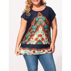 Round Neck Floral Printed Plus Size T-Shirts ($13) ❤ liked on Polyvore featuring tops, t-shirts, round neck tee, plus size women's t shirts, collar t shirt, floral print t shirt and plus size tees