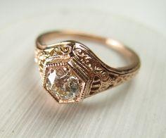 Filigree Antique Vintage Engagement Diamond Ring Rose by Spexton