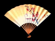 Vintage Paper Fan - Japanese Sensu - Year of the Sheep - F151 Sheep Plum Blossoms Small Size