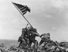 Old Glory goes up on Mt. Suribachi 23 Feb, 1945  #WWII