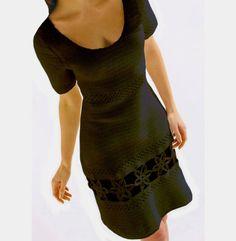 Crochet dress PATTERN, little black crochet dress, crochet cocktail dress pattern, party crochet dress pattern, tightly fitted dress pattern