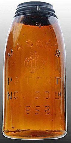 Mason's, CFJ, Patent Nov 30th 1858, Amber, 12 Gallon. A half-gallon deep amber Mason's CFJ Patent Nov
