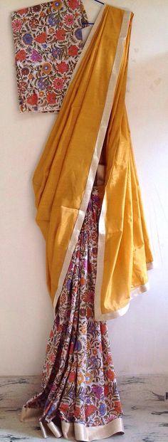 18 New Ideas Wedding Indian Saree Simple Best Wedding Colors, Best Wedding Dresses, Indian Dresses, Indian Outfits, Formal Saree, Kalamkari Saree, Simple Sarees, Black Saree, Half Saree