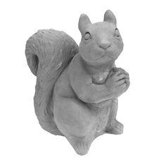 null Cast Stone Sitting Squirrel Garden Statue Antique Gray