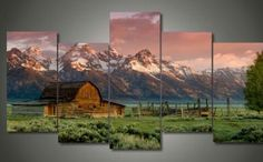 5 Pieces/set HD Barn Teton Rocky Mountains Painting on Canvas Home Decoration Wall Art Pictures for Living Room Unframed Canvas Frame, Canvas Wall Art, Canvas Prints, Canvas Canvas, Rocky Mountains, Poster Prints, Framed Prints, Mountain Paintings, Barn Paintings