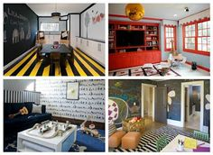 Bold and colorful playrooms
