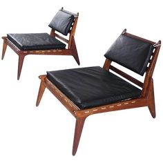 Sculptural Pair of Black Leather Hunting Chairs in Oak, Germany, For Sale Outdoor Chairs, Lounge Chairs, Campaign Furniture, Wood Joints, Chairs For Sale, Mid Century Modern Design, Chair Design, Vintage Designs, Black Leather