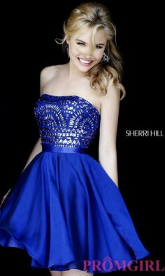 Prom Dresses, Celebrity Dresses, Sexy Evening Gowns: Short Strapless Sherri Hill Dress with Jewel Embellished Bodice