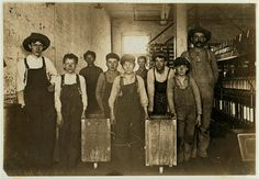 Clyde Cotton Mills, Newton, N.C. Doffers in the above mill. 50 operatives, 10 of them small boys and girls like these. Location: Newton, North Carolina. 1908 December.