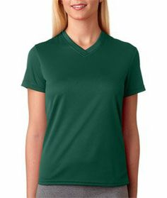 UltraClub Ladies Sun Protection V-Neck T-Shirt, Forest Green, Large