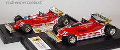 """Ferrari 312T4/F1 vencedor del GP de Mónaco de 1979 con Jody Scheckter nº11, con una peculiar posición muy adelantada del alerón posterior. Trás él, el nº12 de Gilles Villeneuve, retirado por problemas mecánicos. Modelos reproducidos por IXO Models de la serie """"La Storia"""" (el nº11) y por BRUMM el nº12, ambos a escala 1:43"""