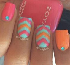 Ikat Chevron nail design ~Nail Art~