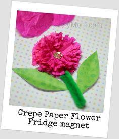 Mothers Day Craft   Crepe paper flower CrepePaperFlowerFridgeMagnet photo