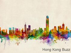 Watercolor Hong Kong skylines by ArtPause