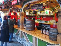Festive stand selling mulled wine at the Dusseldorf, Germany Christmas market!