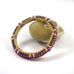 Regal a Beadwoven Bangle with Super Duo by CreativeTreasuresUK, £25.00 Japanese Toho seed beads, super duo beads, glass pearls